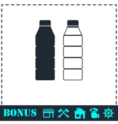 Plastic bottle icon flat vector