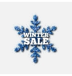 Winter sale banner blue glitter snowflake vector