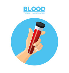 Hand holding test tube blood vector
