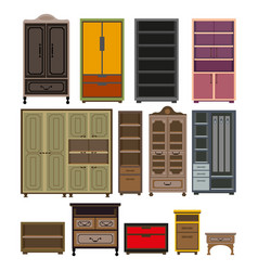Furniture cabinet and wardrobe chests vector