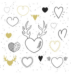 Collection of hand drawn hearts vector