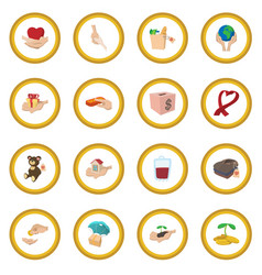 donate given cartoon icon circle vector image