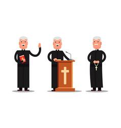 Set pastor character standing with cross bible vector