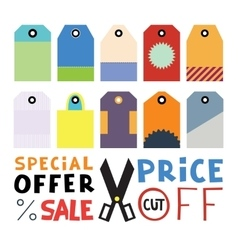 Set of ten different blank price or gift tags vector
