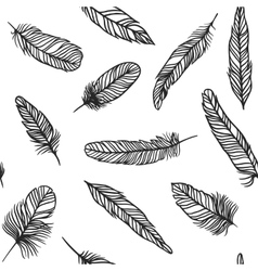 Boho feather hand drawn effect style vector
