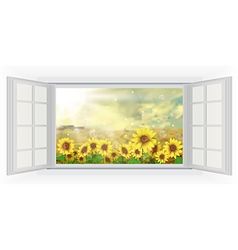 Open windows summer sun over the sunflower field vector