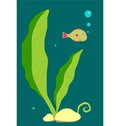 Little fish underwater vector