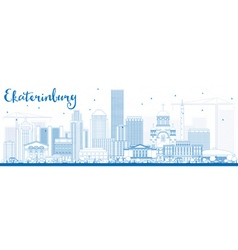 Outline ekaterinburg skyline with blue buildings vector
