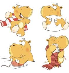 A set of hippopotamuses cartoon vector