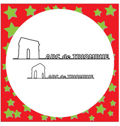 Arc de triomphe paris outline vector