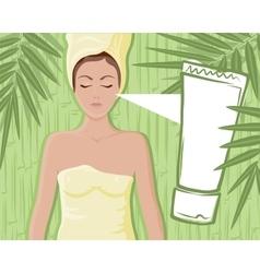 Bamboo cream massage girl vector image