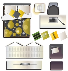 Bedroom top view set 2 for interior vector
