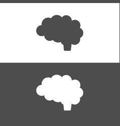 brain icon on dark and white background vector image vector image