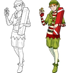 Christmas elf Caucasian boy with gift vector image