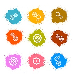 Cogs - Gears Colorful Splashes Icons Set Isolated vector image vector image