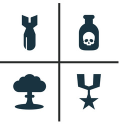 Combat icons set collection of atom order vector