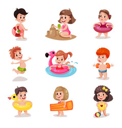 Cute cartoon boys and girls playing at the beach vector