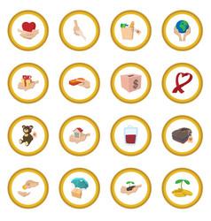 Donate given cartoon icon circle vector