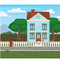 Field and house and tree agriculture cartoon vector