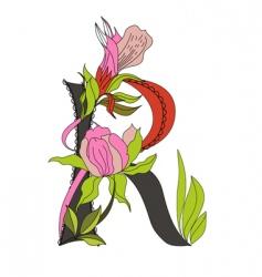 floral font 2 letter r vector image vector image