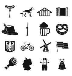 Germany icons set simple style vector