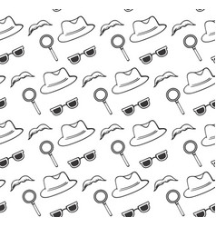 Hat glasses magnifier mustache seamless pattern vector