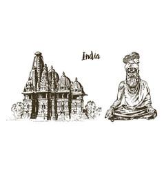 Hindu in national dress indian spiritual monk vector