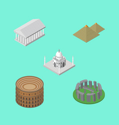 Isometric architecture set of coliseum india vector
