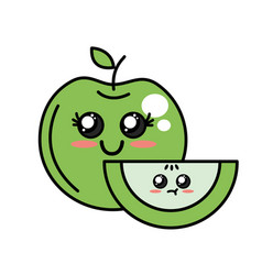 Kawaii cute happy and tender apple fruit vector