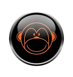 Monkey logo in a black circle vector image