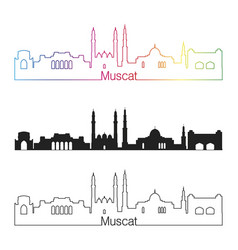 muscat skyline linear style with rainbow vector image