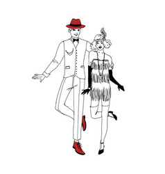 Pair of smiling man and woman dressed in 1920s vector
