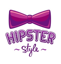 Purple bow tie and lettering hipster styl vector