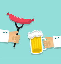 Sausages and beer vector