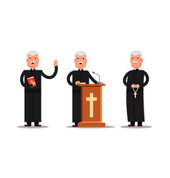 Set pastor character standing with cross bible vector