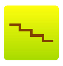 Stair down sign brown icon at green vector