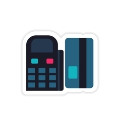 Stylish sticker on paper terminal and bank card vector