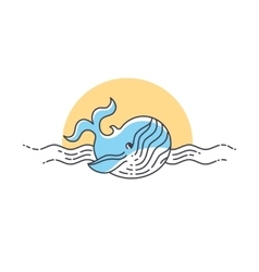 Whale line icon vector image