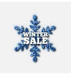 Winter sale banner blue glitter snowflake vector