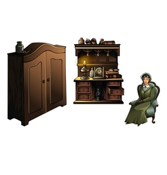 Woman with furniture vector image vector image
