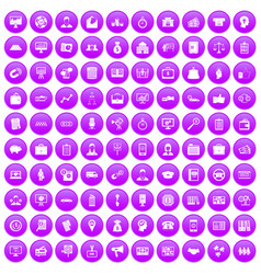 100 business group icons set purple vector