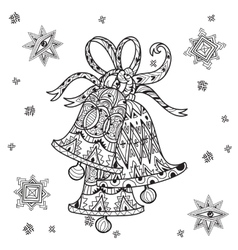 Cute fairy doodle christmas bells vector