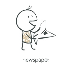 Cartoon man reading a newspaper vector