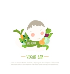 Organic food logo with boy and vegetables design vector