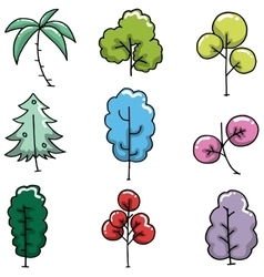 Doodle of simple tree collection vector image
