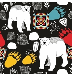 Seamless pattern with bears of northern pole vector