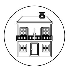 Monochrome contour circle of house with two floors vector