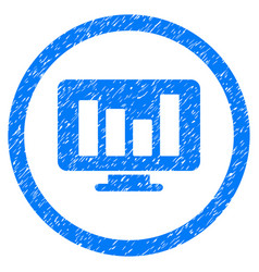 Bar chart monitoring rounded grainy icon vector