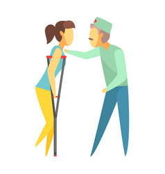 Doctor helping woman walking with crutches vector
