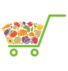 stylized image of a shopping cart of vegetables vector image